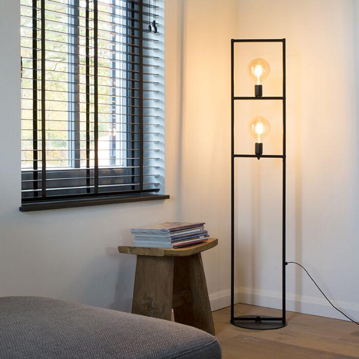 Industrial-floor-lamp-2-light-black---Simple-Cage