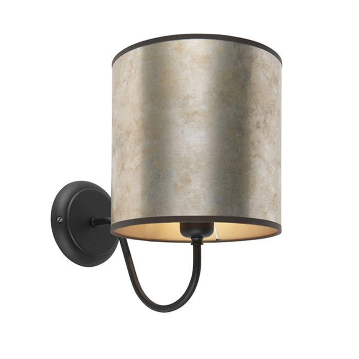 Classic-wall-lamp-black-with-zinc-velor-shade---Matt
