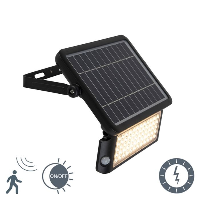 Outdoor Flood Light Black With Solar Motion Sensor Twilight Switch Incl Led Teho