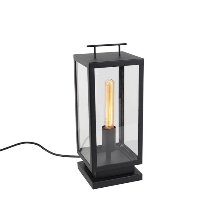 Modern-Outdoor-Table-Lamp-Black-with-Glass---Rotterdam
