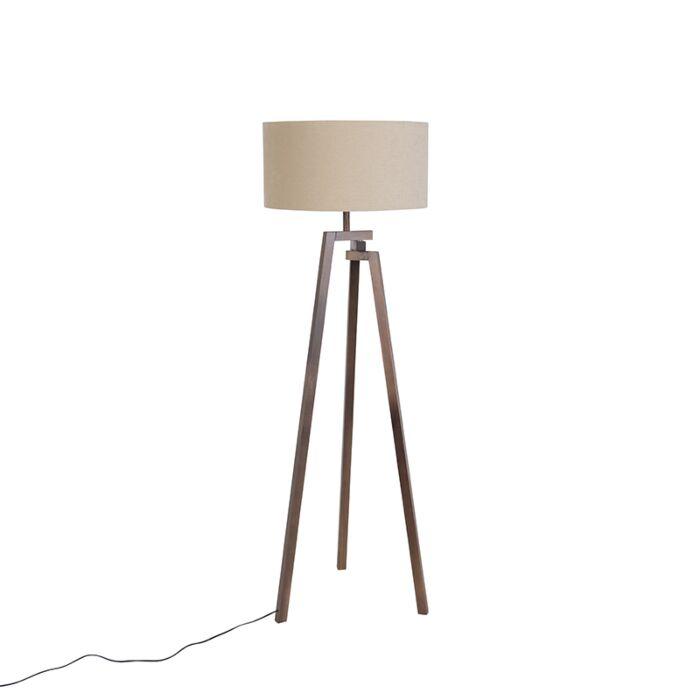 Modern Floor Lamp Tripod Walnut Wood With Coffee Shade Cortina