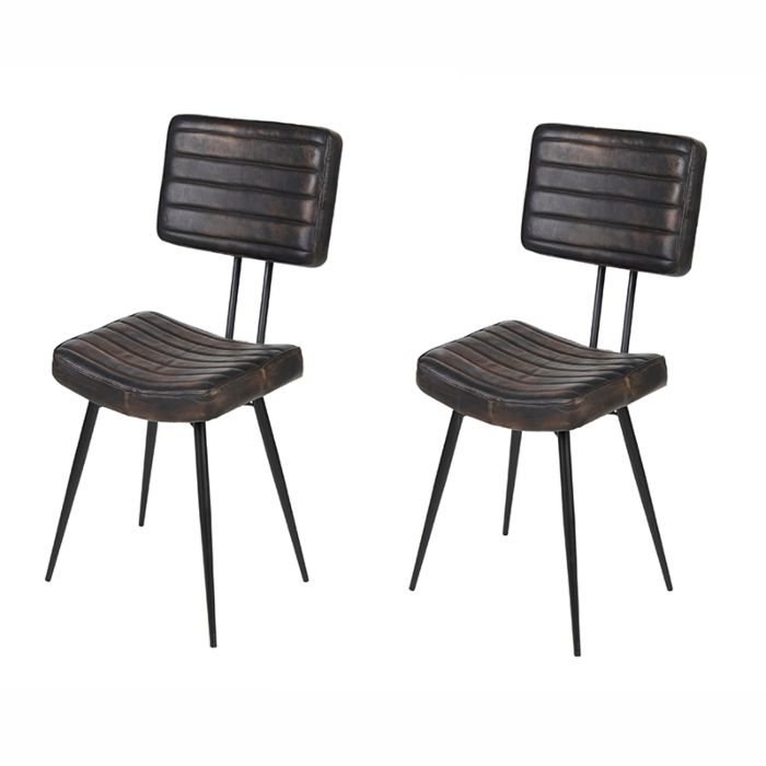 Set-of-2-Dining-Chairs-Leather-Dark-Brown-with-Iron-Legs---Kila