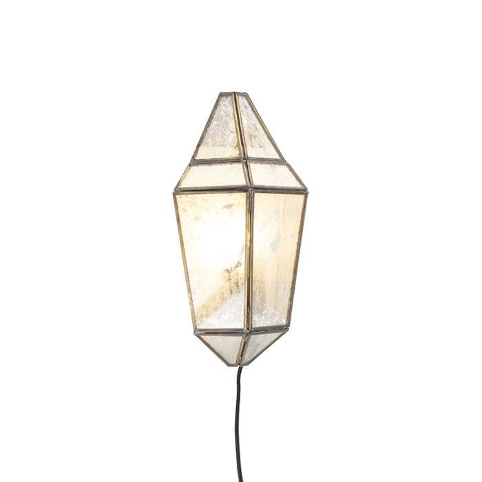 Art-Deco-Wall-Lamp-Half-Brass-with-Antique-Stained-Shade---Scone
