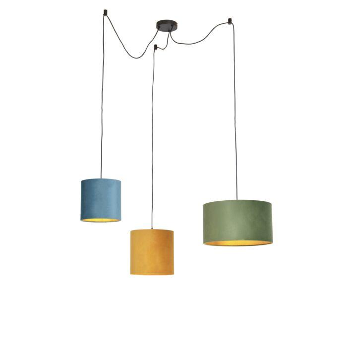 Pendant Lamp With 3 Velvet Shades Green