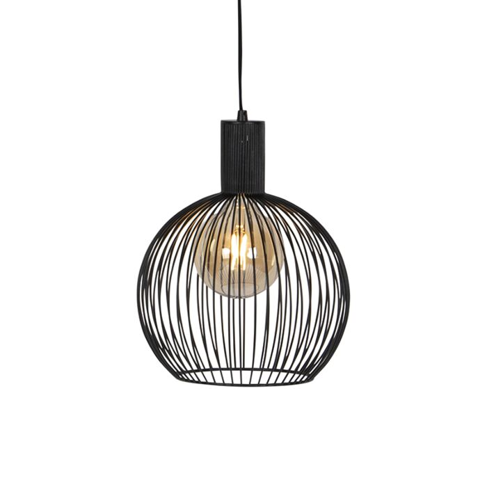 Modern-Round-Pendant-Lamp-30cm-Black---Wire
