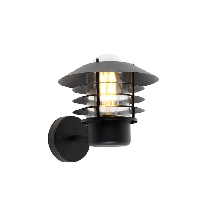 Modern-outdoor-wall-lamp-black-IP44---Prato-Up