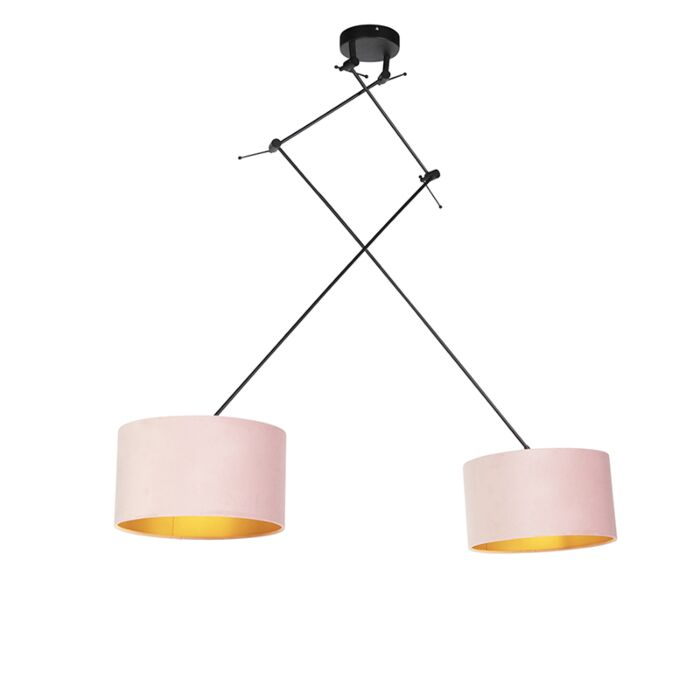 Hanging Lamp With Velor Shades Pink