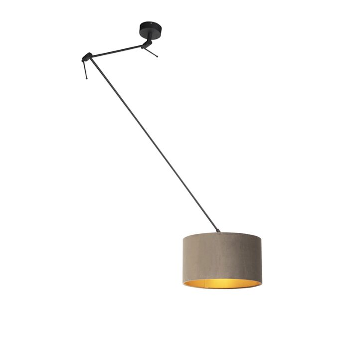 Hanging Lamp With Velvet Shade Taupe