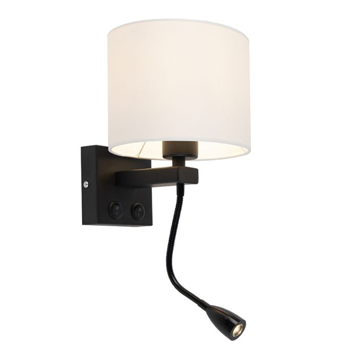 Modern-Wall-Lamp-Brescia-Black-with-White-Shade-18/18/14-
