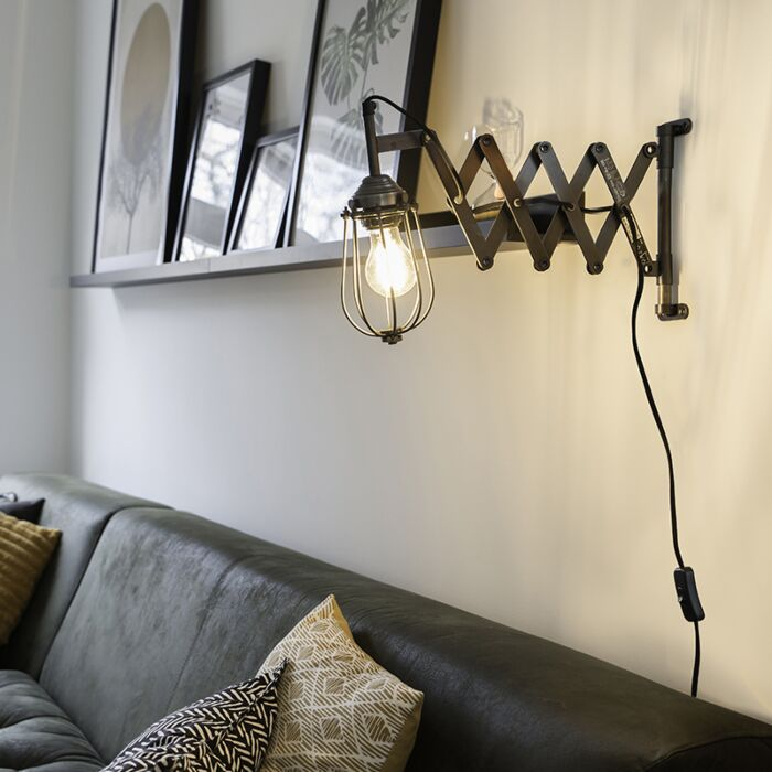 Industrial-Harmonica-Arm-Wall-Lamp-Antique-Zinc-with-Frame-Shade---Scissors-Cage