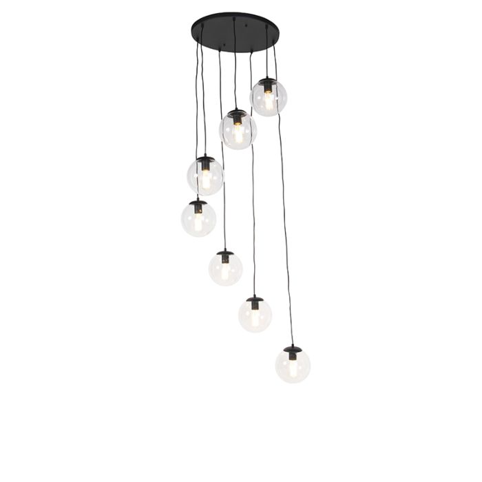 Modern-Pendant-Lamp-Black-with-7-Clear-Shades---Pallon