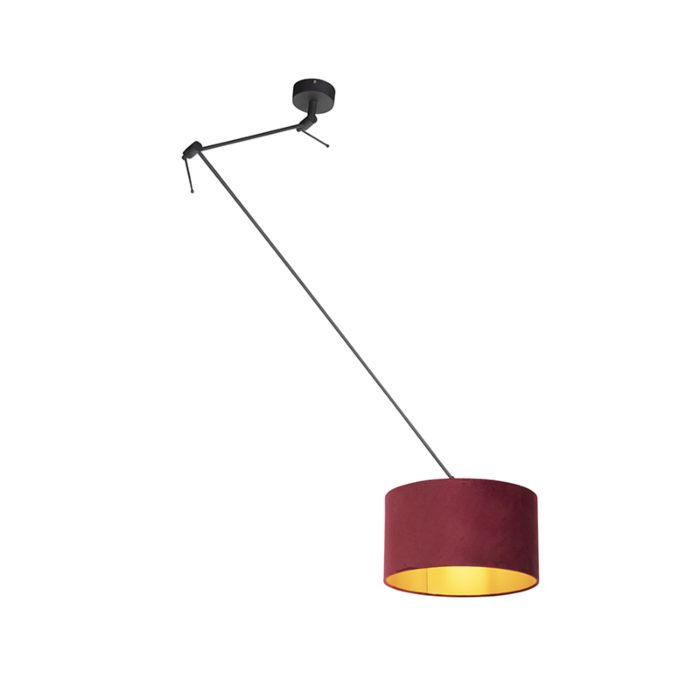 Hanging Lamp With Velor Shade Red