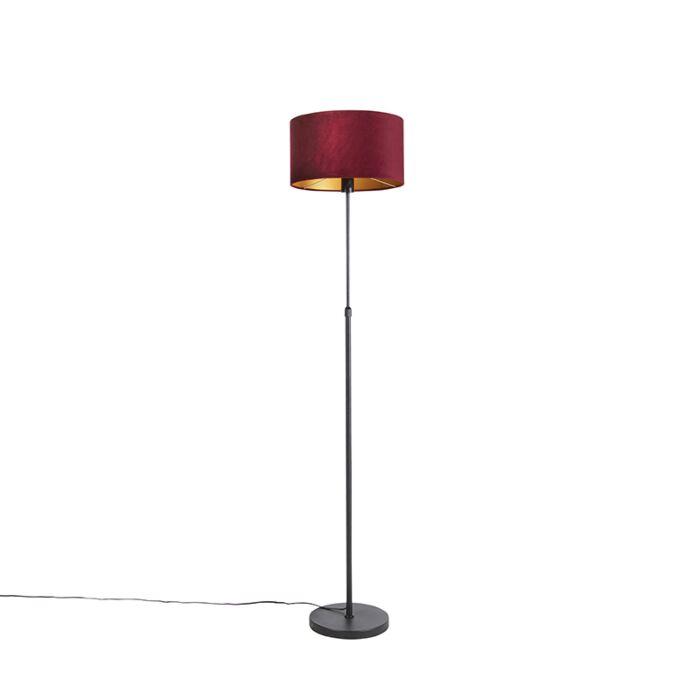 Floor Lamp Black With 35cm Red Velvet