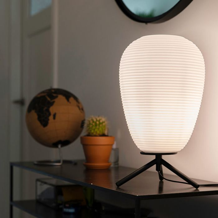 Design-table-lamp-black-glass-24-cm-with-opal-glass---Hero