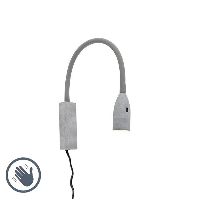 Design-wall-lamp-gray-with-flexarm-dimmable-incl.-LED---Lenta
