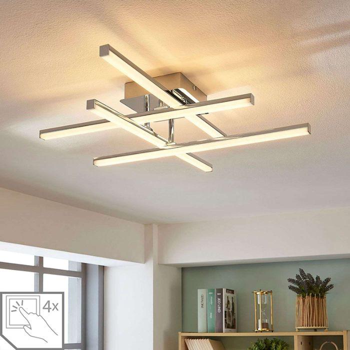 Modern Ceiling Lamp Chrome Incl Led