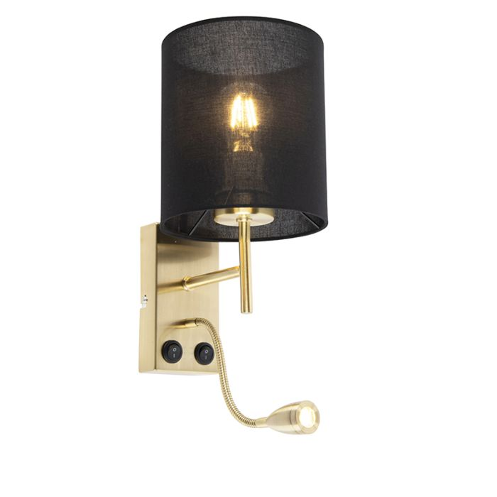 Art-Deco-wall-lamp-gold-with-cotton-black-shade---Stacca