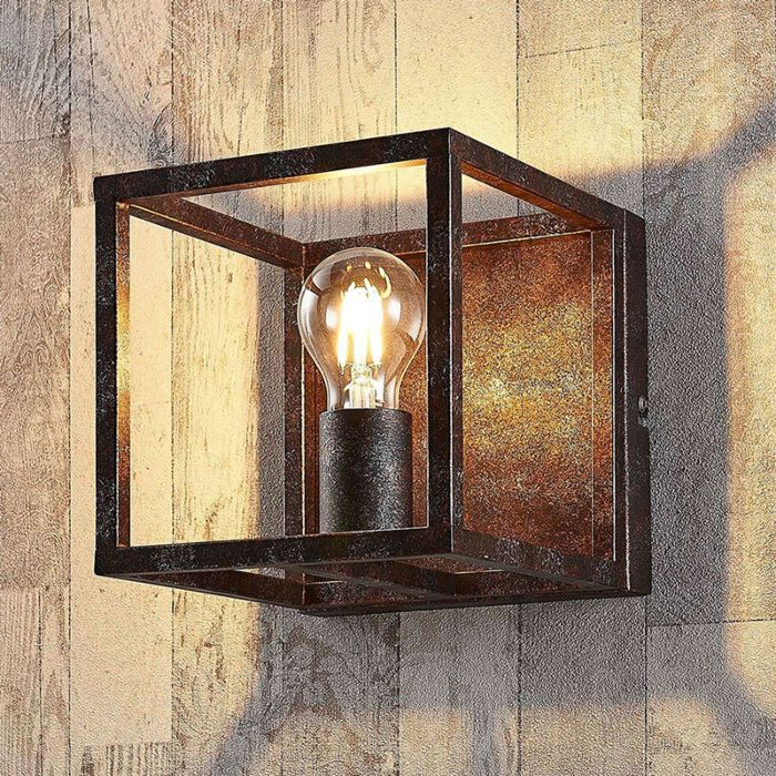 Rural-square-wall-lamp-rust-brown---Cage