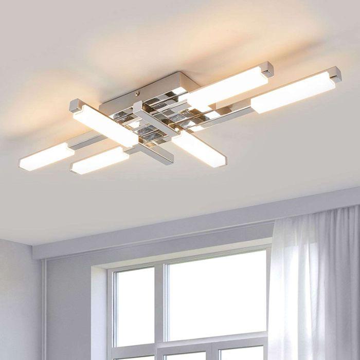 Modern Bathroom Lamp 6 Light Chrome