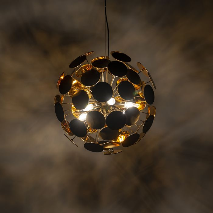 Design-hanging-lamp-black-with-gold-54-cm---Cerchio