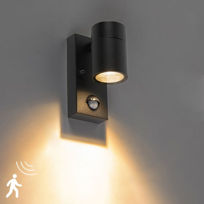 Exterior Wall Light Black With Motion